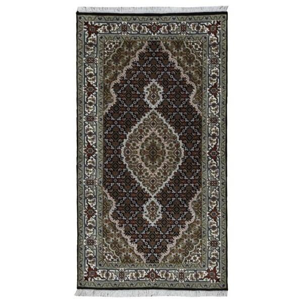 "One-of-a-Kind Fine Tabriz Silk Oriental Area Rug - 3' x 5'3"""