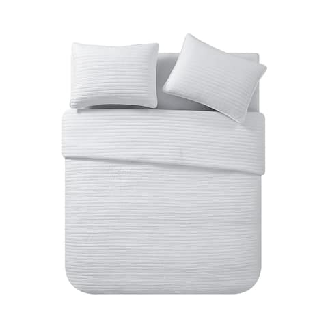 VCNY Home Richmond Solid Textured Stripe Quilt Set