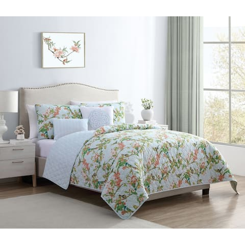 VCNY Home Chelsea Springs Reversible Floral Quilt Set
