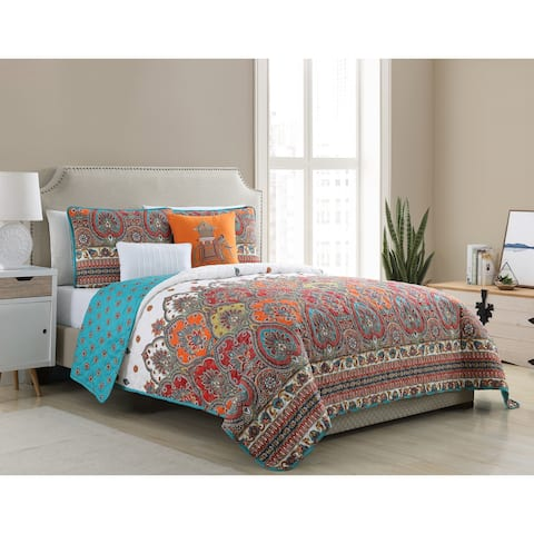 VCNY Home Adelia Reversible Damask Quilt Set