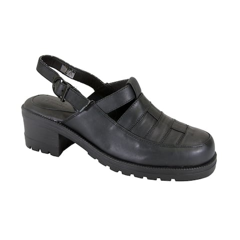 24 HOUR COMFORT Cora Wide Width Comfortable Leather Slingback Clogs