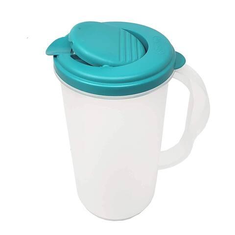 BPA Free 2 Quart 1.9 L 1 Gallon Round Snap Tight Pivot Top Spout Clear Base Plastic Pitcher Dishwasher Safe