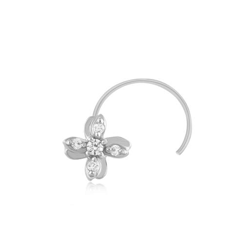 0.05 Ct Natural Diamond Nose Stud Ring Pin.925 Sterling Silver