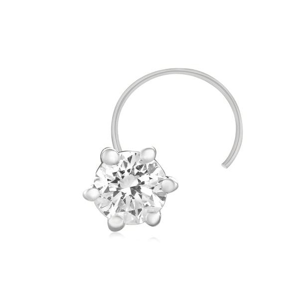 DIAMOND FLOWER NOSE PIERCING STUD RING PIN DAILY WEAR GIFT 14K WHITE GOLD OVER