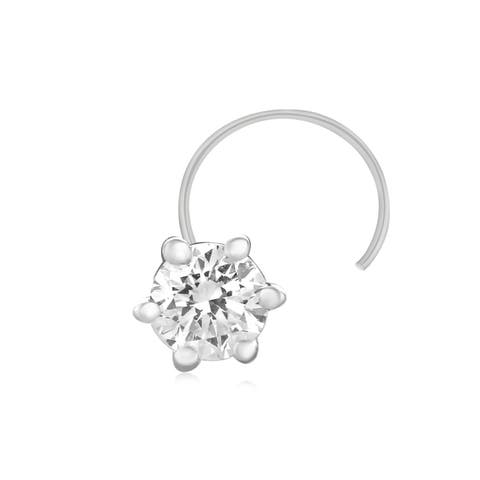 .925 Sterling Silver Natural Diamond Nose Stud Ring Pin 0.08 Ct