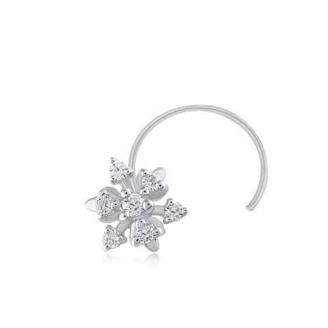 .925 Sterling Silver 0.06 Ct Natural Diamond Nose Stud Ring Pin