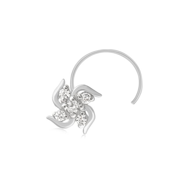 Shop 925 Sterling Silver 0 05 Ct Diamond Floral Nose Stud Ring