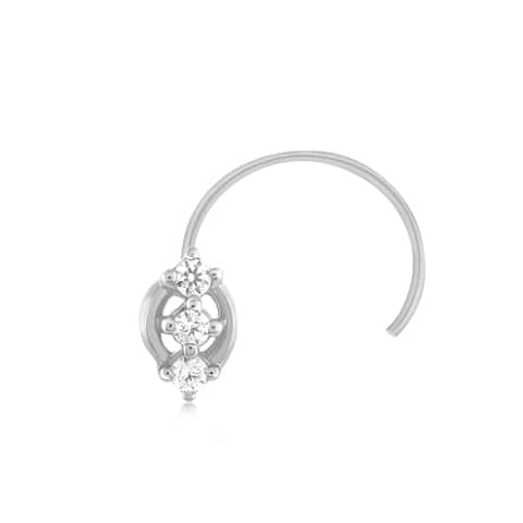 .925 Sterling Silver 0.05 Ct Diamond Nose Stud Ring Pin Jewelry