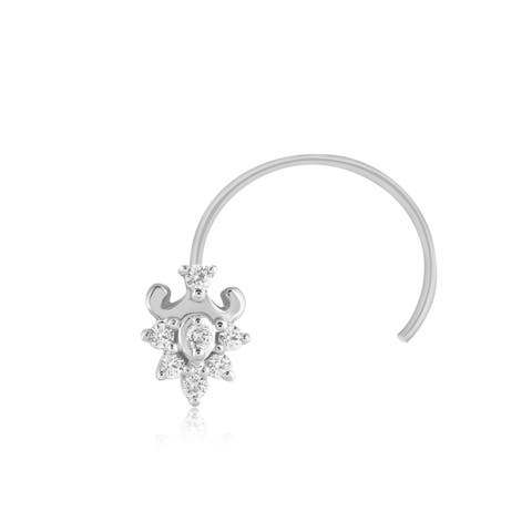 Real Diamond Nose Stud Ring Pin 0.08 Ct.925 Sterling Silver