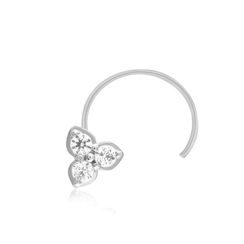 1/10 Ct Genuine Diamond Nose Stud Ring Pin.925 Sterling Silver