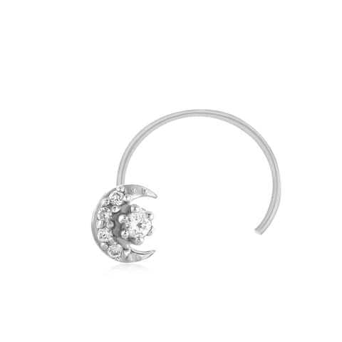 .925 Sterling Silver Real Genuine Diamond Nose Stud Ring Pin