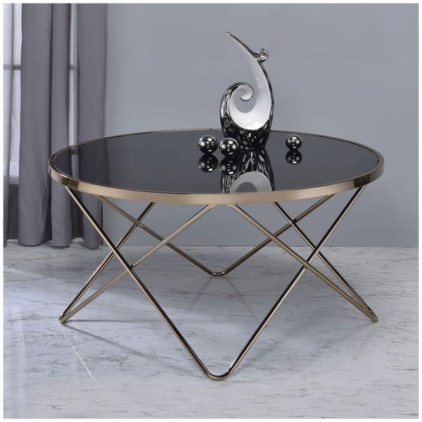 Shop Urban Designs V Shaped Metal Frame Round Coffee Table Black