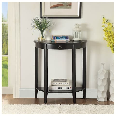 Urban Designs Half Moon Console Table With Drawer - Black