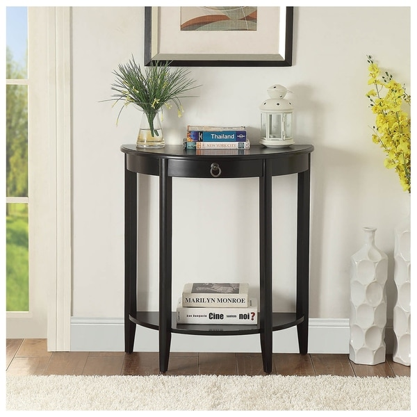 Urban Designs Half Moon Console Table With Drawer - Black. Opens flyout.