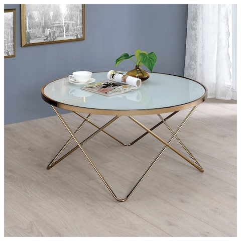 Carson Carrington Ingolsbenning White Frosted Glass V-Shaped Metal Frame Round Coffee Table