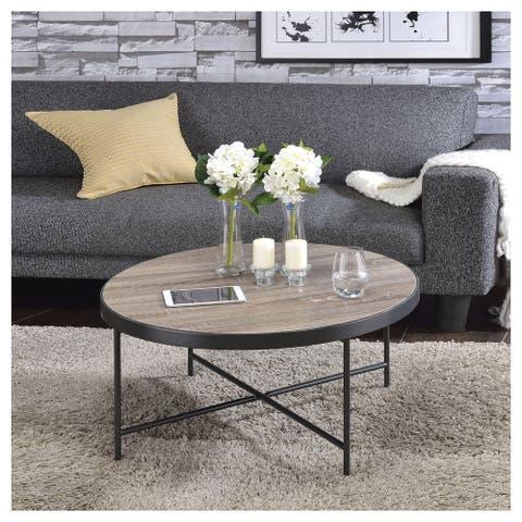 Urban Designs Weathered Gray Oak Round Coffee Table