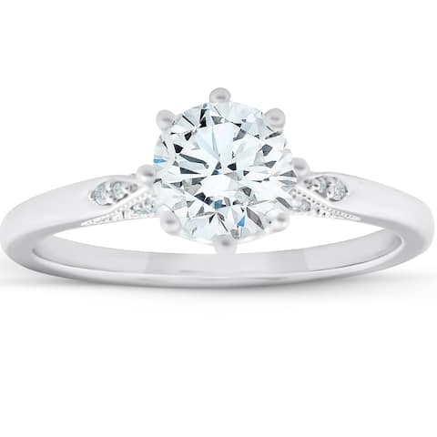 14k White Gold 1.05 Ct TW Diamond & Moissanite 8-Prong Engagement Ring