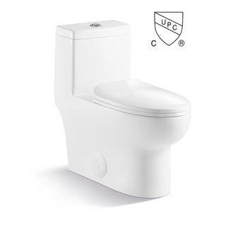 Contemporary Modern Design One Piece Dual Flush 1.2/1.6 Gpf With Soft Closing toliet seat Elongated Toilet Pure White
