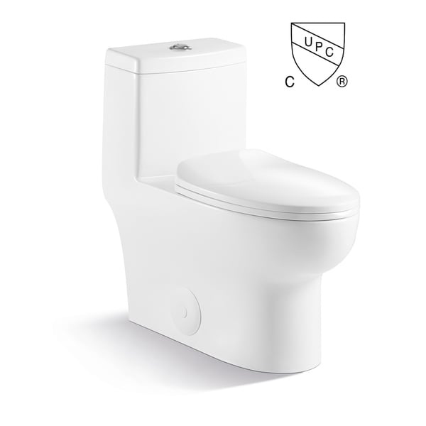 Contemporary Modern Design One Piece Dual Flush 1.2/1.6 Gpf With Soft Closing toliet seat Elongated Toilet Pure White. Opens flyout.