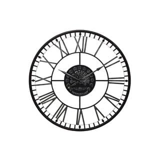 Aged Black Metal Analog Roman Numiral Wall Clock