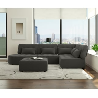 Porch & Den McCarthy Modular Sectional in Charcoal Textured Chenille