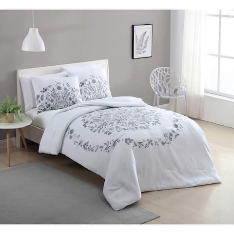 VCNY Home Lauren Black and White Floral Duvet Cover Set