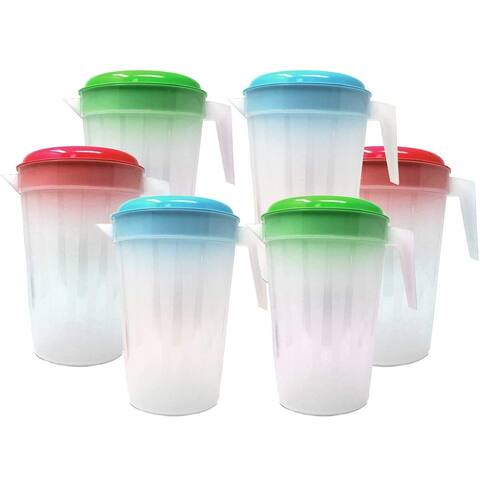 6 Pack Heavy Duty 1 Gallon/4.5 Liter Round Clear Plastic Pitcher Jug With Lid See Through Base For Water Iced Tea Beverages