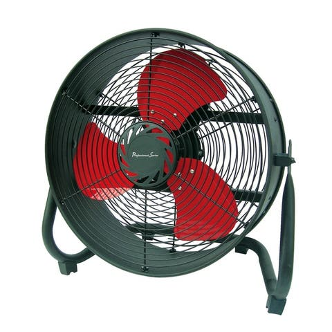 """Professional Series 14"""" Drum Fan with Red Blades and Black Body"""