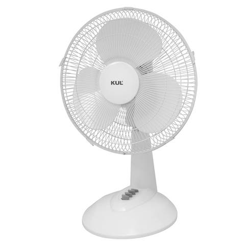 """KUL 16"""" Oscillating Table Fan with 3 Speeds, White"""