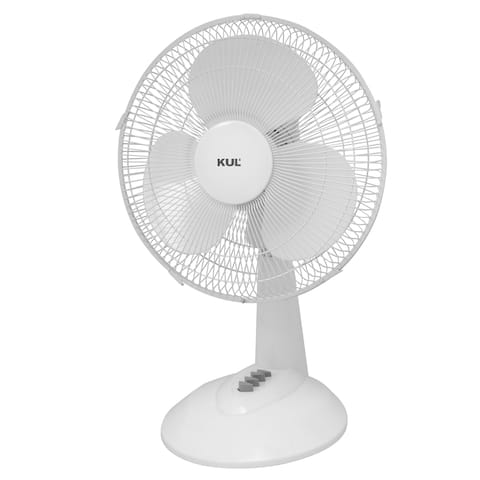 "KUL 16"" Oscillating Table Fan with 3 Speeds, White"