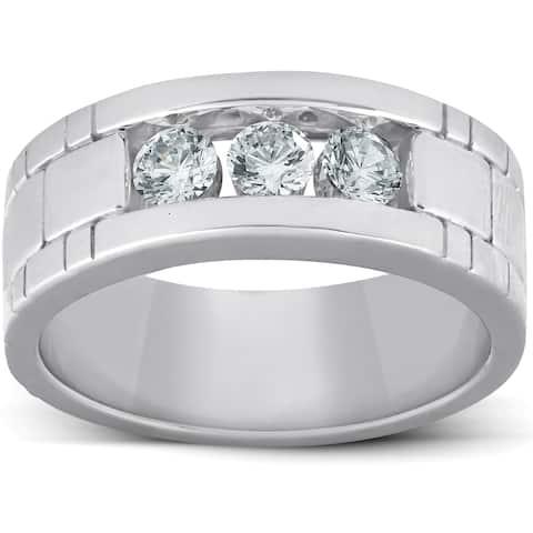 cee95b0ac Pompeii3 10k White Gold 1 Ct Three Stone Mens Heavy Weight Anniversary Ring