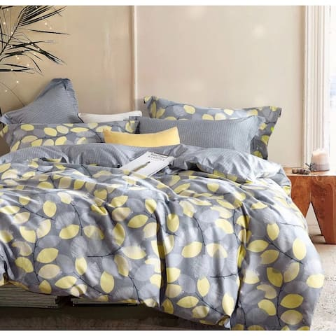Porch & Den Woodgrove Grey/ Yellow Leaf Pattern Cotton Comforter Set