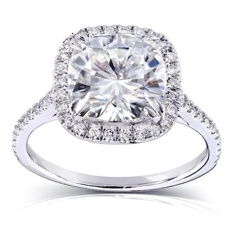 Annello by Kobelli 14k White Gold 3ct TGW Cushion Forever One 8.5mm Moissanite and Natural Diamond Halo Engagement Ring