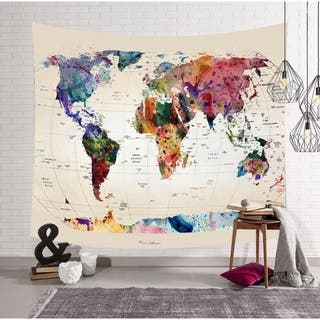 """Retro Colorful World Map Tapestry Wall Hanging 59"""" x 51"""" (10)"""