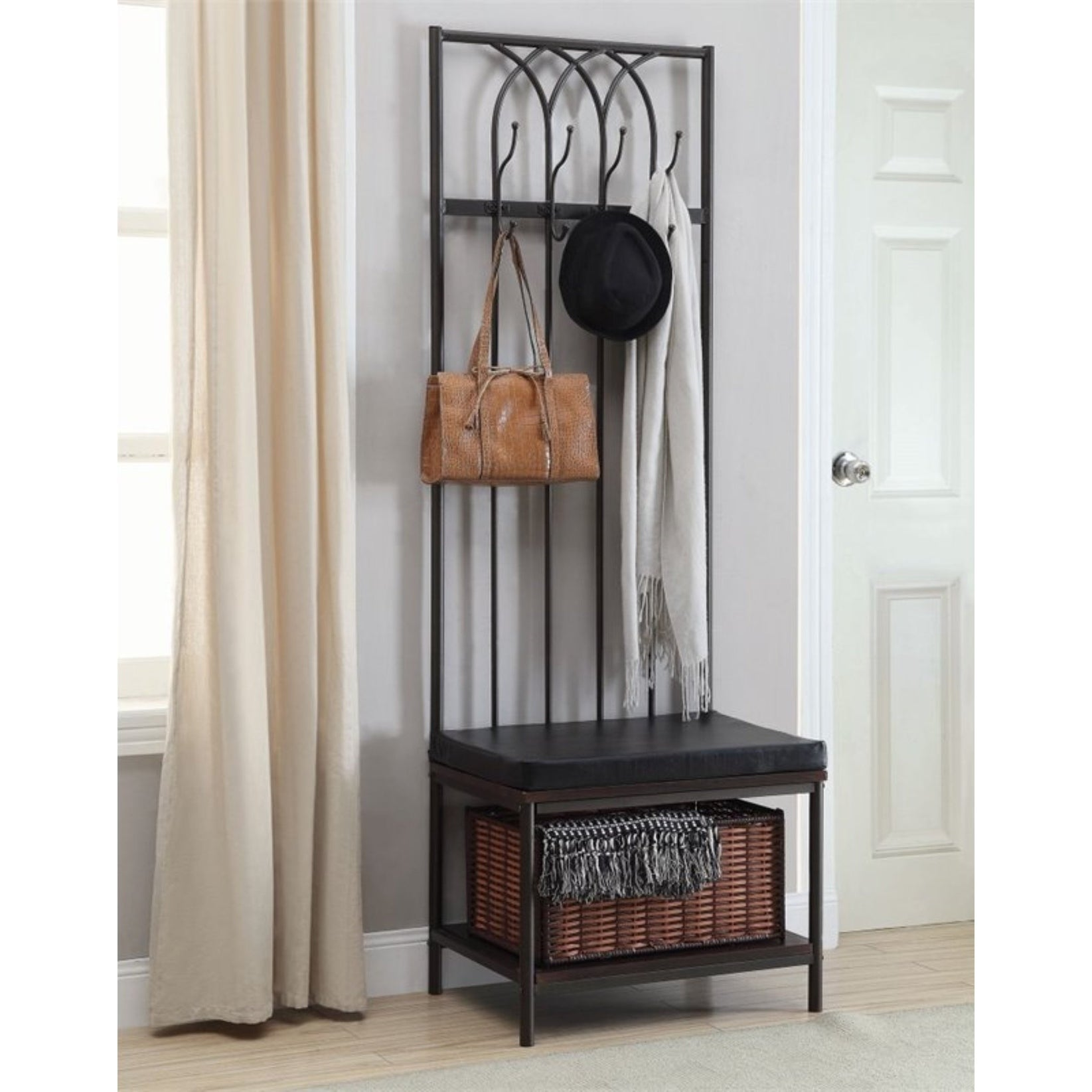 Enjoyable Transitional Hall Tree Coat Rack With Storage Bench Ibusinesslaw Wood Chair Design Ideas Ibusinesslaworg