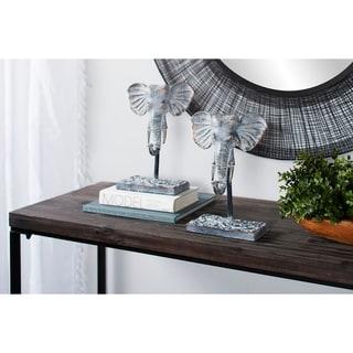 Studio 350 Metal Elephant Figurines on Stands, Set of 2