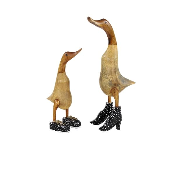 Natural Wood Ducks With Navy Blue Shoes