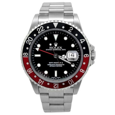 Pre-owned 40mm Rolex Stainless Steel Oyster Perpetual GMT-Master II with Black Dial - N/A