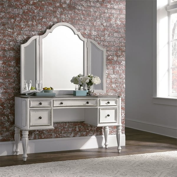 Magnolia Manor Antique White 3 Piece Vanity Set On