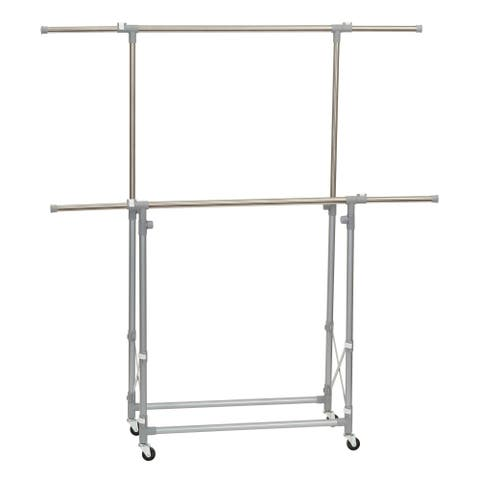 Household Essentials Folding Double Garment Rack with Wheels