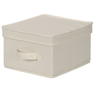 Household Essentials 111 Storage Box with Lid and Handle - Natural Beige Canvas - Medium