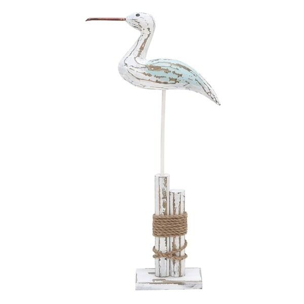 The Gray Barn Coastal Distressed Pine Wood and Jute Seabird Sculpture