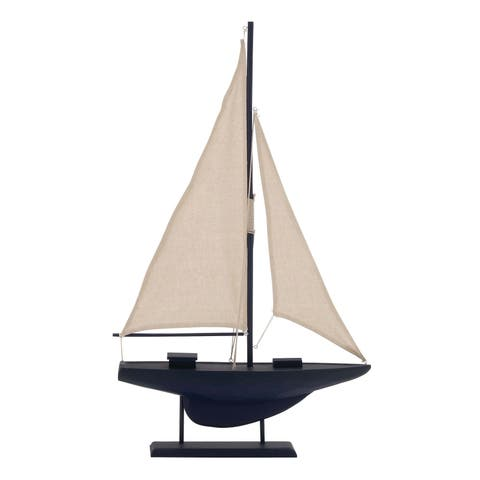 Studio 350 Coastal Wooden Sailboat Sculpture