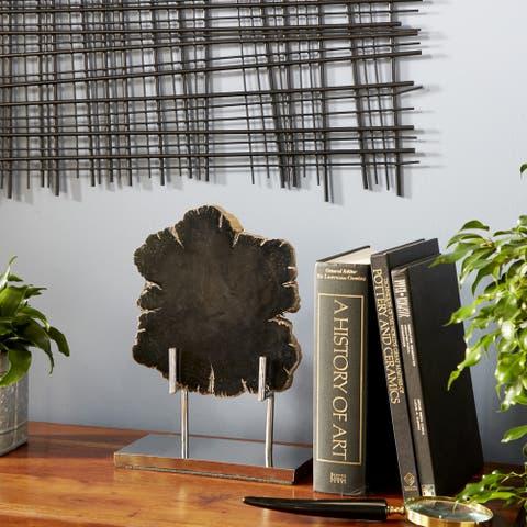 Studio 350 Live Edge Petrified Wood Slice Sculpture on Metal Stand