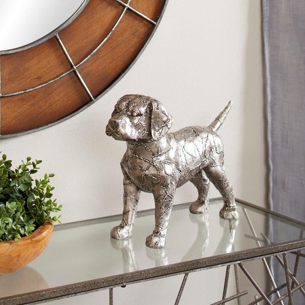 "Studio 350 Metallic Beagle Dog Statue with Crackle Texture, 17"" x 12"""
