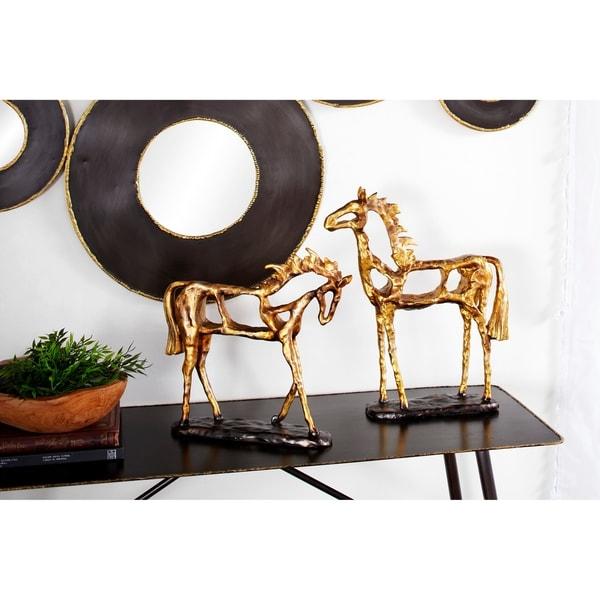 Studio 350 Textured Resin Metallic Horse Statues on Stands
