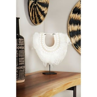 Studio 350 Decorative Shell and Feather Tribal Necklace Displayed on Iron Stand