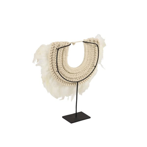 Studio 350 Decorative Shell And Feather Tribal Necklace Displayed On Iron Stand On Sale Overstock 28588556