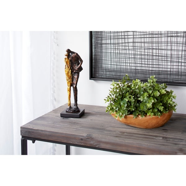"Studio 350 Metallic Human Figurines Embracing Sculpture with Base, 4"" x 13"""