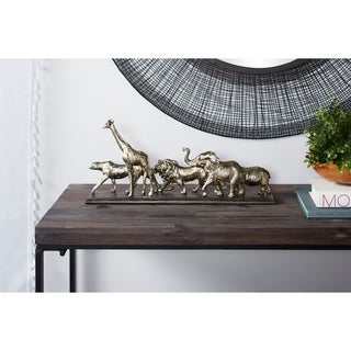 "Studio 350 Metallic Safari Animal Sculptures Table Decor Statue, 20"" x 9"""